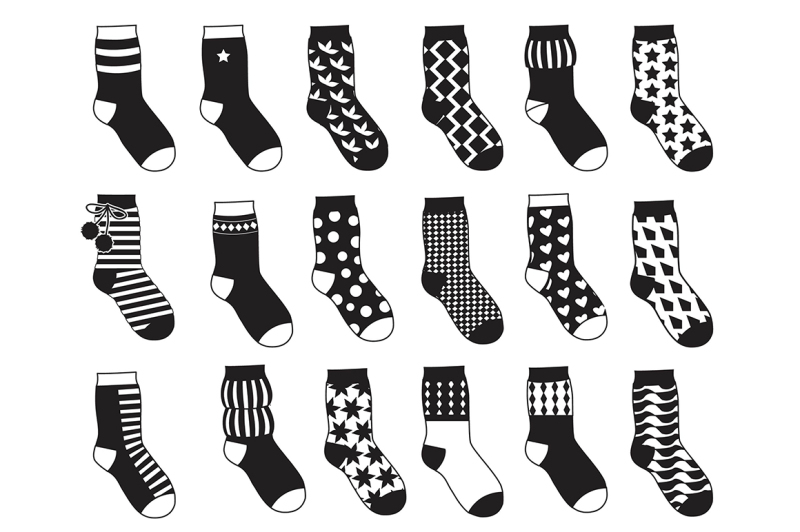 silhouette-of-kids-socks-with-different-patterns
