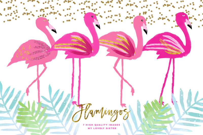 pink-flamingo-clipart-scrapbooking-cupcake-toppers-planner-stickers
