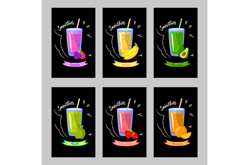 set-of-cards-with-different-smoothies-on-a-black-background