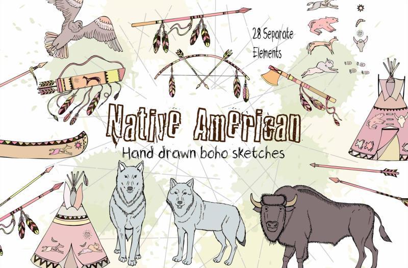 native-american-digital-clipart-boho
