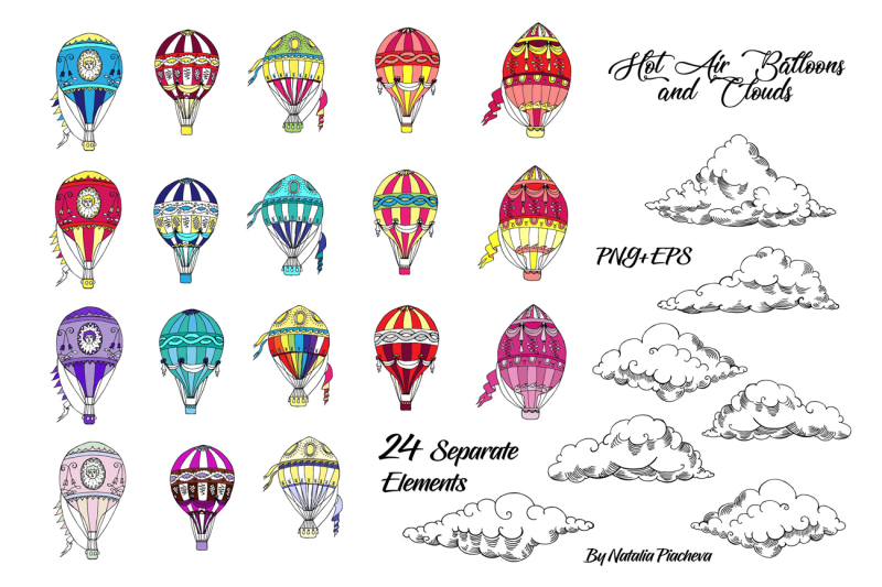 hot-air-balloons-digital-clip-art-cloud-sky-air-retro-vintage-ha