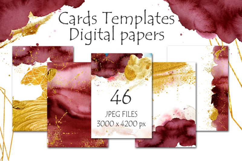 burgundy-and-gold-digital-papers-cards-templates