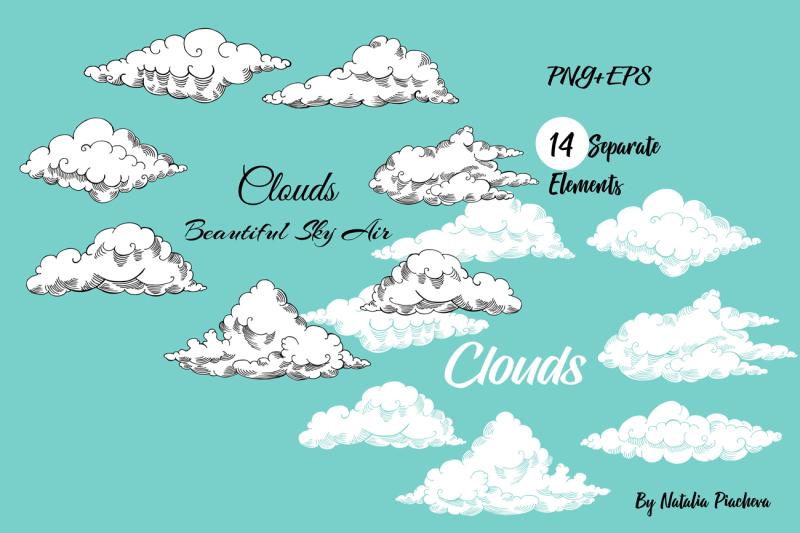 clouds-digital-clip-art-sky-air-retro-vintage-hand-drawn-sketch