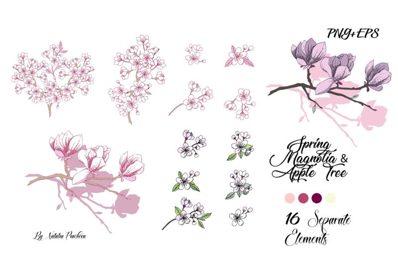 sakura-and-magnolia-clip-art-wedding-flower-floral-sakura-apple-t