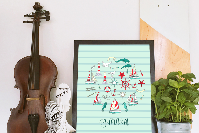nautical-elements-with-ships-clip-art-summer-holidays-see-wave-oce