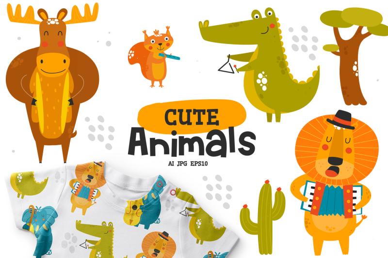 cute-animals-character-music-band