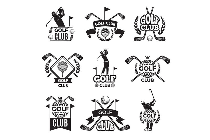 badges-or-logos-for-golf-club-monochrome-pictures-isolated-on-white