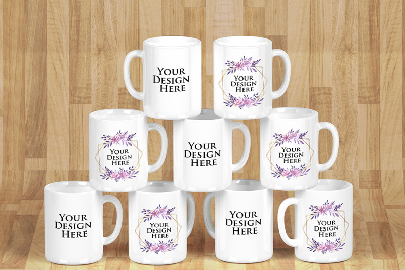 Free Mockup - Stacked Mugs White - Edit Background - Select Colors (PSD Mockups)