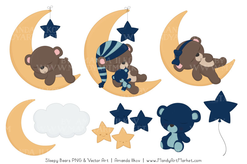 beary-cute-sleepy-bears-clipart-and-papers-set-in-navy