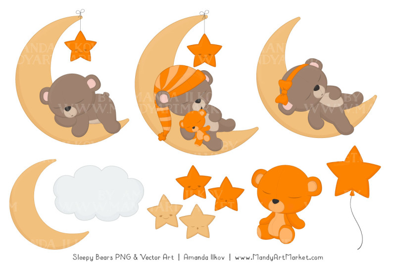beary-cute-sleepy-bears-clipart-and-papers-set-in-orange