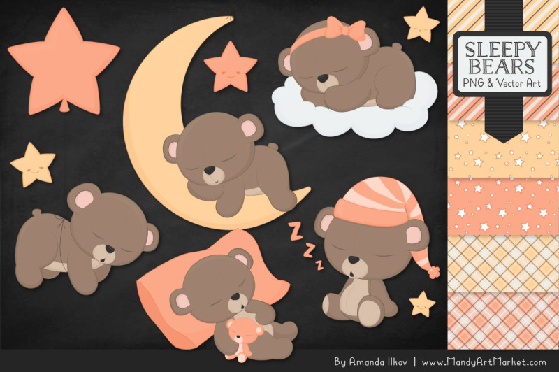 beary-cute-sleepy-bears-clipart-and-papers-set-in-peach