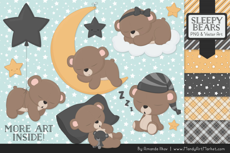 beary-cute-sleepy-bears-clipart-and-papers-set-in-pewter