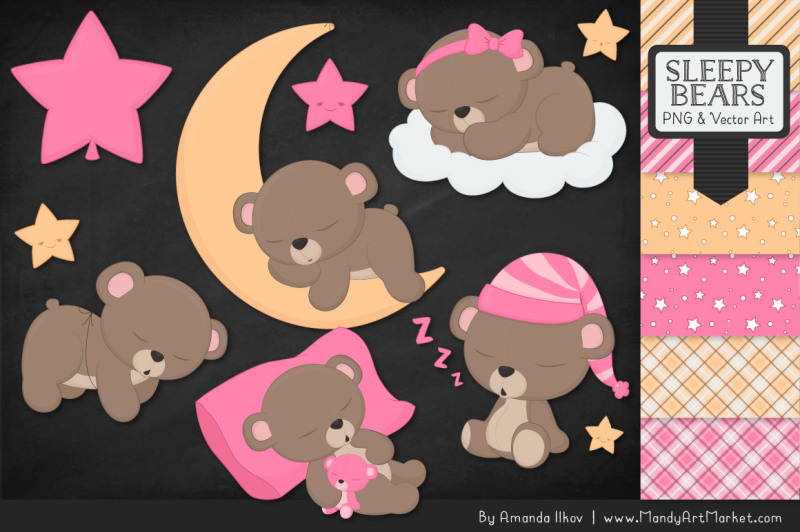 beary-cute-sleepy-bears-clipart-and-papers-set-in-pink