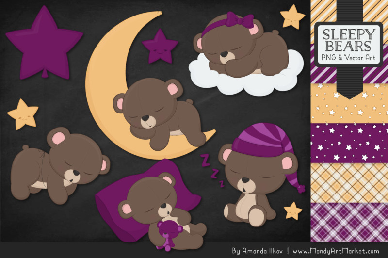 beary-cute-sleepy-bears-clipart-and-papers-set-in-plum