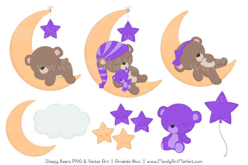 beary-cute-sleepy-bears-clipart-and-papers-set-in-purple