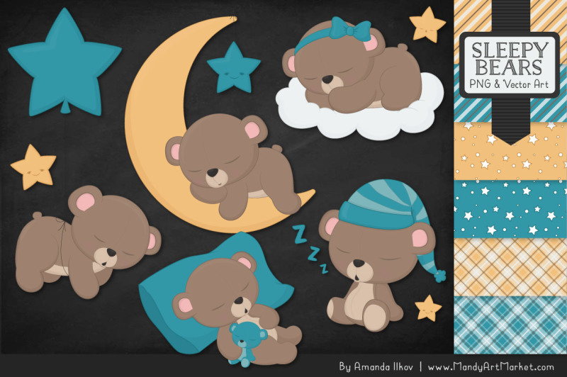beary-cute-sleepy-bears-clipart-and-papers-set-in-vintage-blue