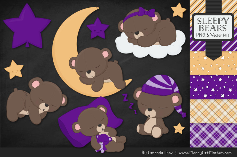 beary-cute-sleepy-bears-clipart-and-papers-set-in-violet