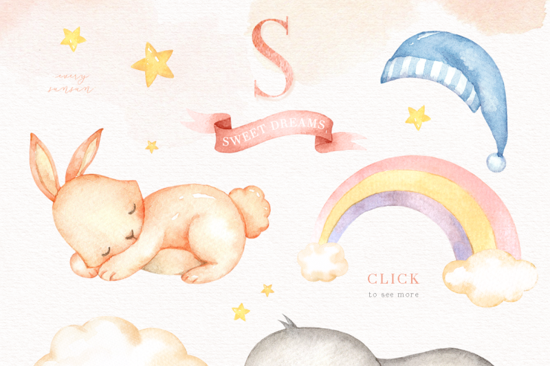 sweet-dreams-watercolor-clip-art
