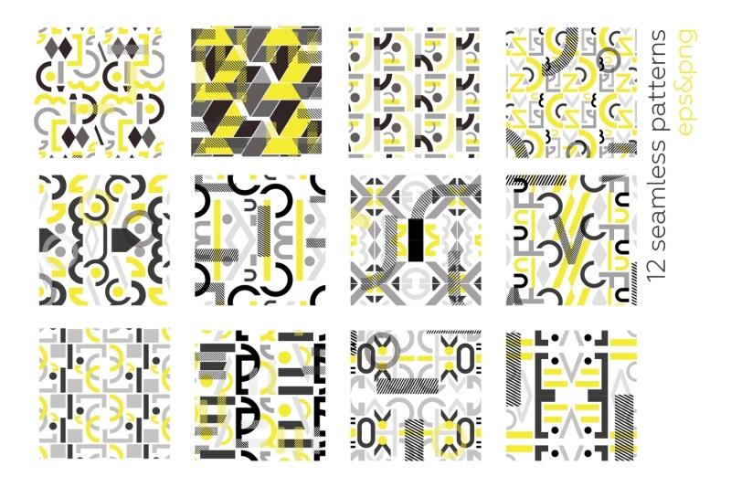neo-geo-geometry-pattern-set