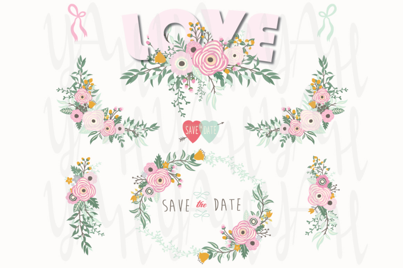 pink-love-floral-elements