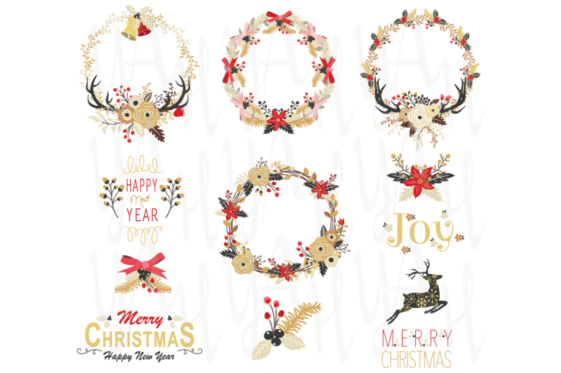 gold-floral-christmas-wreath-element