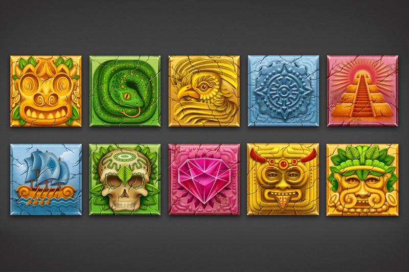 10-aztec-game-icon-set