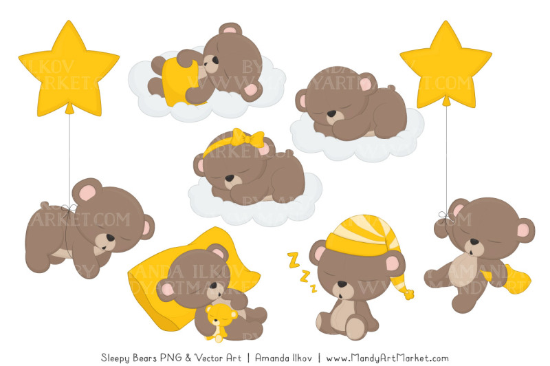 beary-cute-sleepy-bears-clipart-and-papers-set-in-yellow