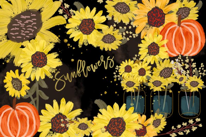 sunflower-watercolor-clipart-pumpkin-clip-art-sunflower-clip-art