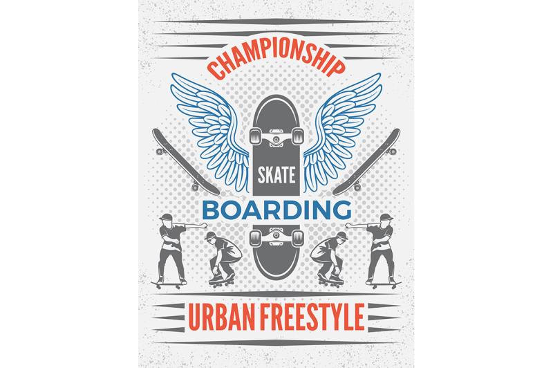 poster-in-retro-style-for-skateboarding-championship