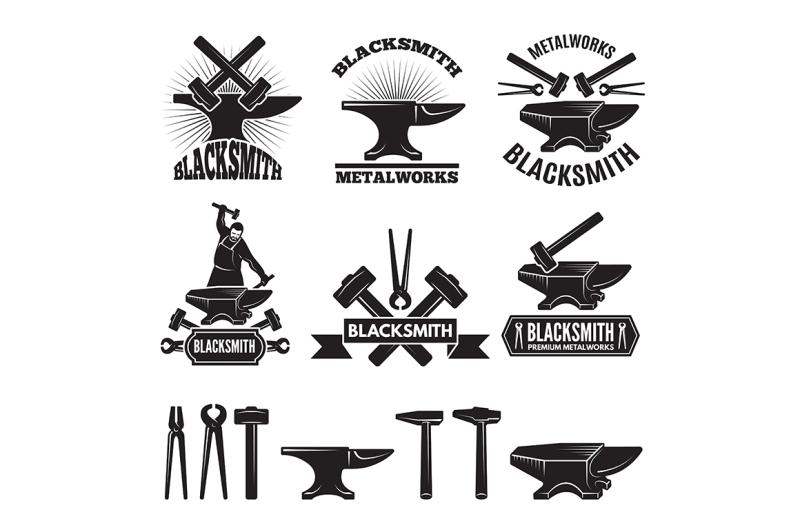 industrial-logo-set-labels-for-blacksmith