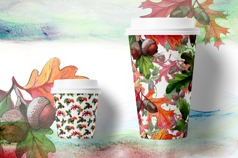 autumn-acorn-leaf-and-plant-png-watercolor-set