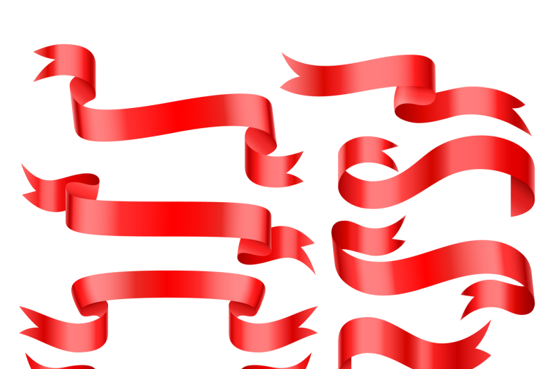 red-bright-glossy-ribbon-patterns-vector-banners