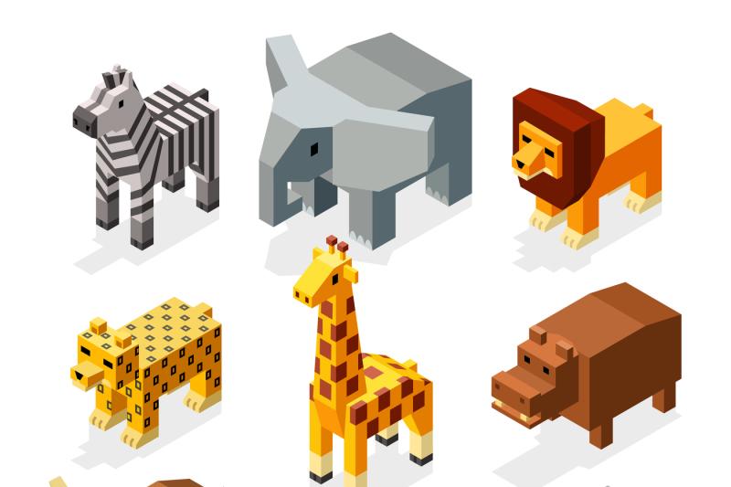 cartoon-3d-isometric-african-animals-vector-characters-set