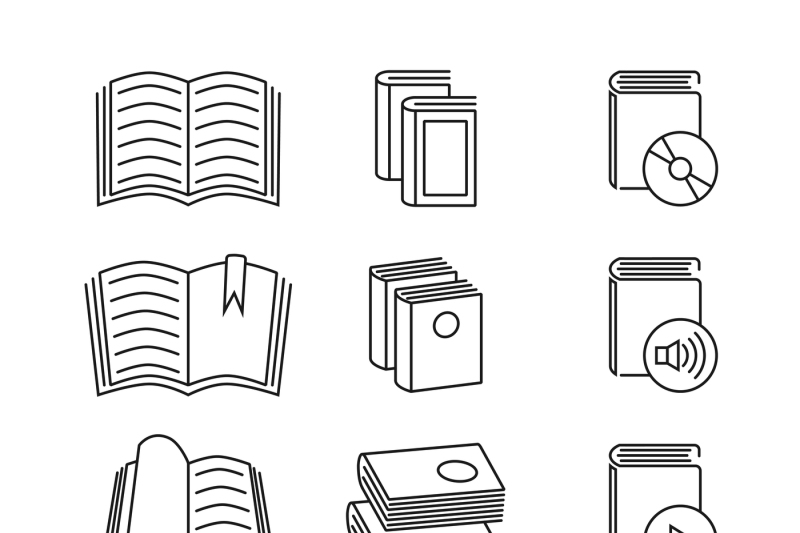 book-line-thin-vector-icons-set