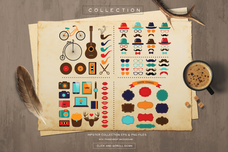 hipster-elements-with-retro-icons