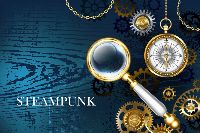 blue-background-with-magnifier-steampunk