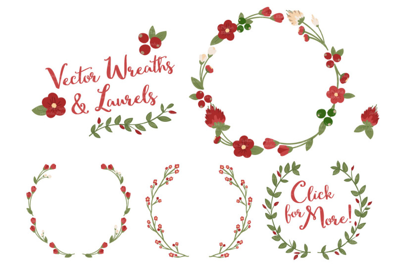 Christmas Wreath Laurel Vectors By Amanda Ilkov Thehungryjpeg Com