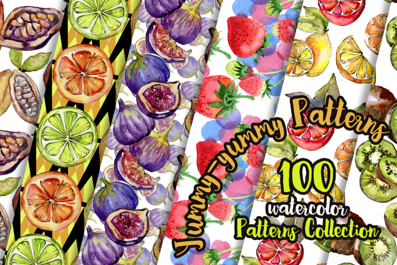 yummy-yummy-100-patterns-of-fruits-jpg-watercolor-set