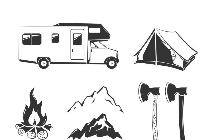 vector-elements-for-summer-camp-outdoors-vintage-labels-emblems-logo