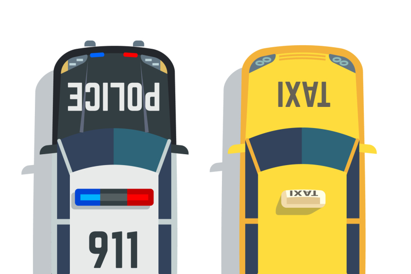 police-and-taxi-cars-top-view-vector-set
