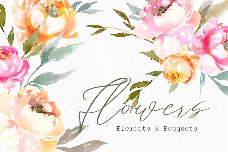 watercolor-flowers-amp-bouquets-pink-yellow-green