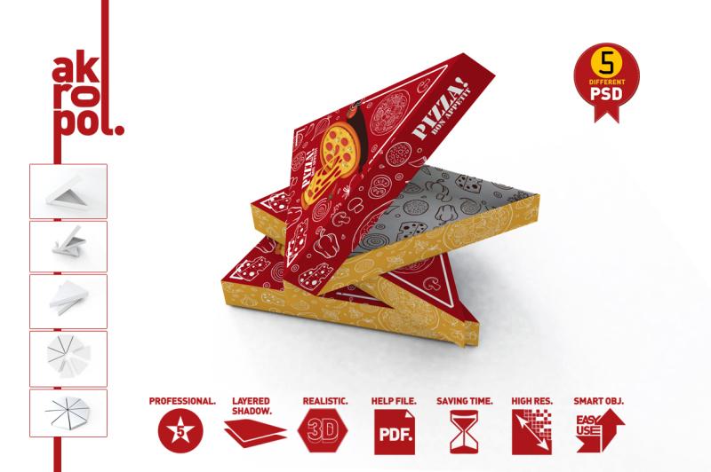Free Pizza Slice Box Packaging Mockup (PSD Mockups)