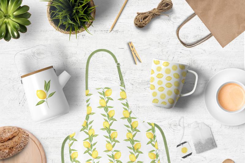lemon-and-citrus-watercolor-clipart-lemon-wreath-seamless-pattern