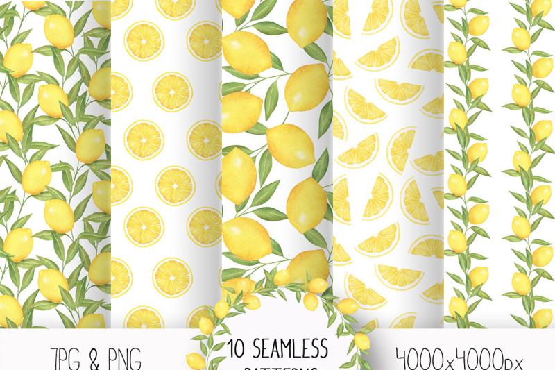Lemon And Citrus Watercolor Clipart Lemon Wreath Seamless Pattern By Kristywatercolor