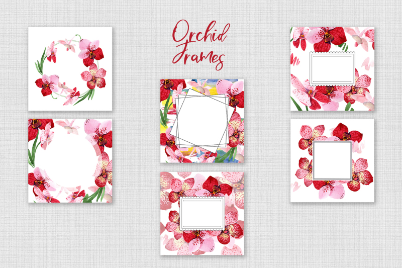 watercolor-red-orchid-wanda-png-set