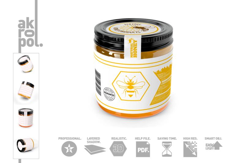 Free Honey Jar Mock up (PSD Mockups)
