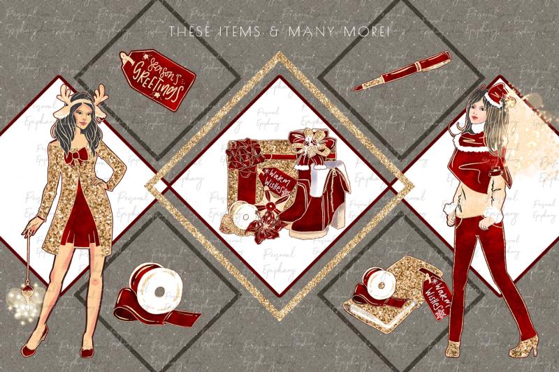 christmas-clipart-planner-girl-glitter-fashion-illustration
