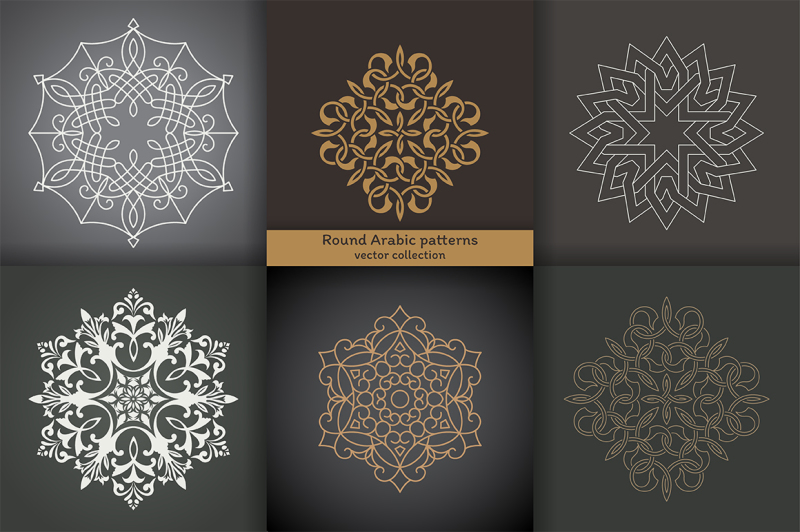 set-of-round-arabic-patterns