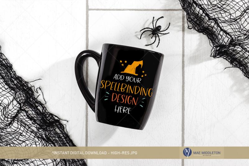 Free Halloween Mockup - Black mug (PSD Mockups)