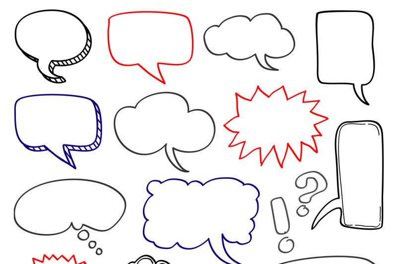 hand-drawn-speech-bubbles-cloud-doodle-vector-set